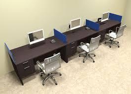 office workstation desks. Three Person Blue Divider Office Workstation Desk Set, #OT-SUL-SPB27 Desks