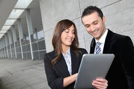 Business Tablet Business People With Tablet Pass The Torch For Women
