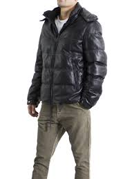 leather goose down collection lamb ovis aries hooded quilted parka