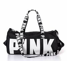 PINK Victoria's Secret Double Strap Duffle <b>Gym Bag</b> Yoga Black ...