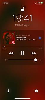 Music app's blurred background ...