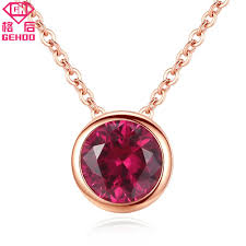2019 gehoo simple red ruby pendant solid 925 sterling silver collar choker women wedding fine jewelry rose gold chain charm necklaces from bojiban