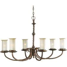 santiago collection 6 light roasted java chandelier with jasmine mist glass