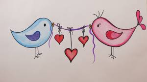 Valentines Day Diy How To Draw Love Birds Holding Hearts On Valentines Day