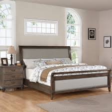 Old World Bedroom Furniture Belmeade Wood Sleigh Upholstered Bed In Old World Oak By Riverside