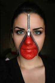 exposed human meat makeup use a single zipper wrapped around your head that opens