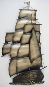 metal wall art large tall ship galleon