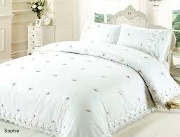 rapport sophie white pink embroidered roses fl lace trim duvet cover bedding