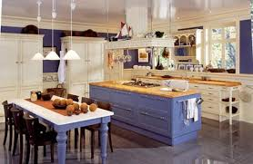 Best Kitchen Floor Material Captivating Blue And Gold Kitchen Decor With Wooden Material And