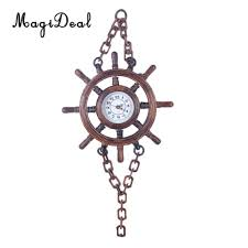 battery powered wooden wood ship boat steering wheel wall clock chain hanging wall decoration black clocks for kitchen black clocks for living room from