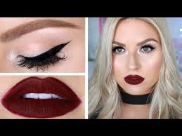 clic deep red lips cat eye liner chit chat grwm you