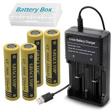 4pcs Flat Top 18650 Batteries 3200mAh Li-ion Rechargeable Battery with 2-Slots USB battery charger for 18500 14500 Charger Fan torch
