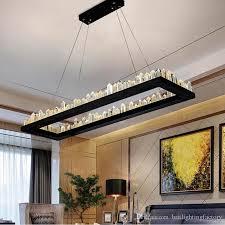 modern crystal pendant lamp iron black crystal chandelier hanging light restaurant rectangular chandelier lighting large led pendant lights bubble