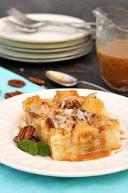 caramel coconut cream bread pudding is rich and dense with a velvety smooth interior crisp top and smoothered in caramel