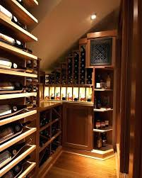 under stair wine rack cellar with transitional and bar basement climate controlled glass mahogany nook tasting