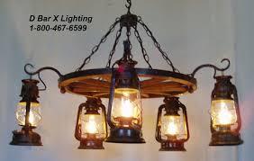 ww036 48 8 rustic wagon wheel chandelier light fixture with lantern lights hanging from hooks
