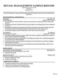 Retail Sales Manager Resumes Retail Store Manager Resume Sample