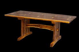 live edge walnut slab trestle table