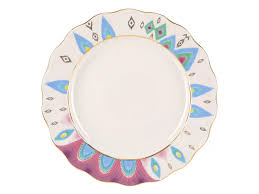 <b>Тарелка</b> мелкая <b>270 мм</b>. форма Тюльпан рисунок Перо павлина ...