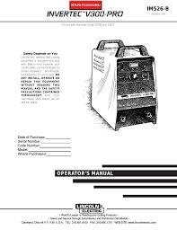 Lincoln Electric Invertec Im526 B Users Manual Manualzz Com