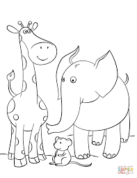 Giraffe, Mouse and Elephant coloring page | Free Printable ...