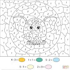 Subtration And Addition A Cute Cartoon Elephant Color By Number ...