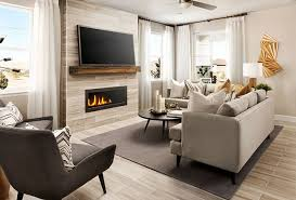 neutral great room with fireplace