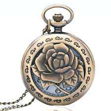 engraved pocket watches reviews online shopping engraved pocket vintage bronze hollow vivid engraved rose antique necklace pendant men pocket watch chain p243