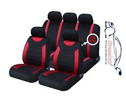 9 pce sports carnaby red black full set of car seat covers ford fiesta focus
