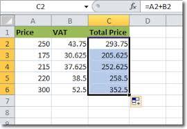 Vat Calculation Formula In Excel Download Formulas In Excel 2010