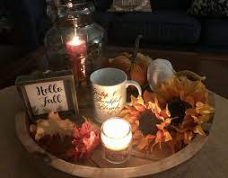 Keep the floral pumpkins in your refrigerator until party time to help extend their shelf life. My Coffee Table Vignette Ready For Fall Autumn Coffee Table Decor Decorating Coffee Tables Coffee Table Vignettes Table Decorations