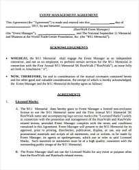 event agreement contract 9 management agreement templates free sample example format