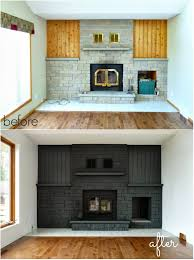 Cheap Fireplace Makeover Ideas How To Easily Paint A Stone Fireplace Charcoal Grey Fireplace