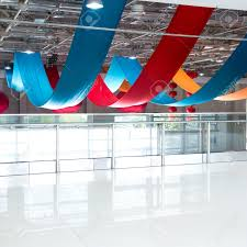 the office centre. the office centre modern with colorful cloth hanging on ceiling for new s