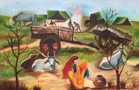 indian painting indian village landscape by jyoti sharma
