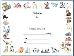 Adoption Certificate Template Fake Papers For Fun Child Kitten Birth ...