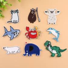 Cartoon Fish Bear Cat <b>Dinosaur</b> Elephant Embroidered Patches for ...