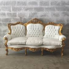 white vintage couch. Fine Vintage Antique French Louis XVI Sofa Settee Couch Original Gold Leaf Gild Frame  White Leather Solid Wood Carved Capitone Tufted Rococo Baroque For Vintage D
