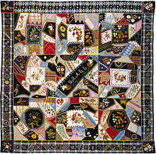 "Crazy quilting - Wikipedia & ""Quilt (or decorative throw), Crazy pattern"". ~1877. 54 ½ × 55 in.  Metropolitan Museum of Art. Adamdwight.com"