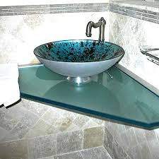 glass counter top with glass vessel sink