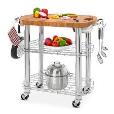 member s mark bamboo prep table kitchen island grill station 1