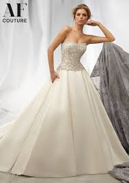 morilee bridal intricately beaded embroidery on a satin faced