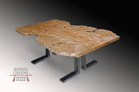 double l wood slab coffee table in brushed steel with live edge book matched big leaf