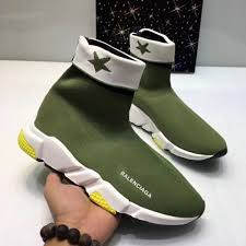 Woman Man Balenciaga Speed Trainer Sock Sneakers Shoes Green
