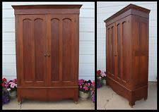 antique cathedral double door knock down oak wood wardrobe armoire easy haul antique english wardrobe armoire