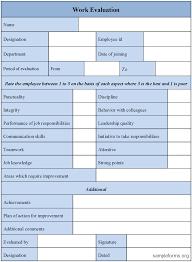Work Evaluation Form : Sample Forms