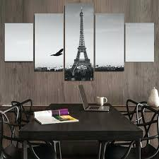 eiffel tower wall 5 piece grand tower wall painting view modern home room wall decor art