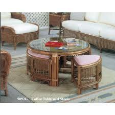 classic rattan coffee table with stools patiosusa com ashley