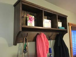 wall hanging cubby shelf with hooks