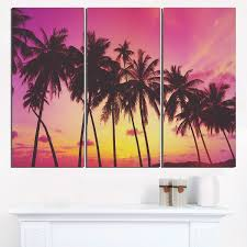 >row of beautiful palms under magenta sky extra large wall art  row of beautiful palms under magenta sky extra large wall art landscape red